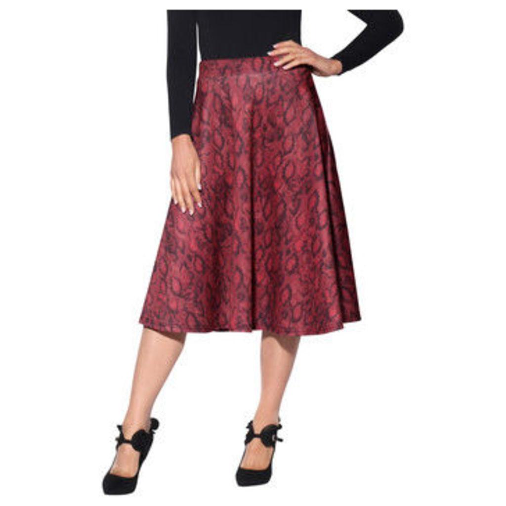 Krisp  Snakeskin Full Midi Skirt [Red]  women's Skirt in Red