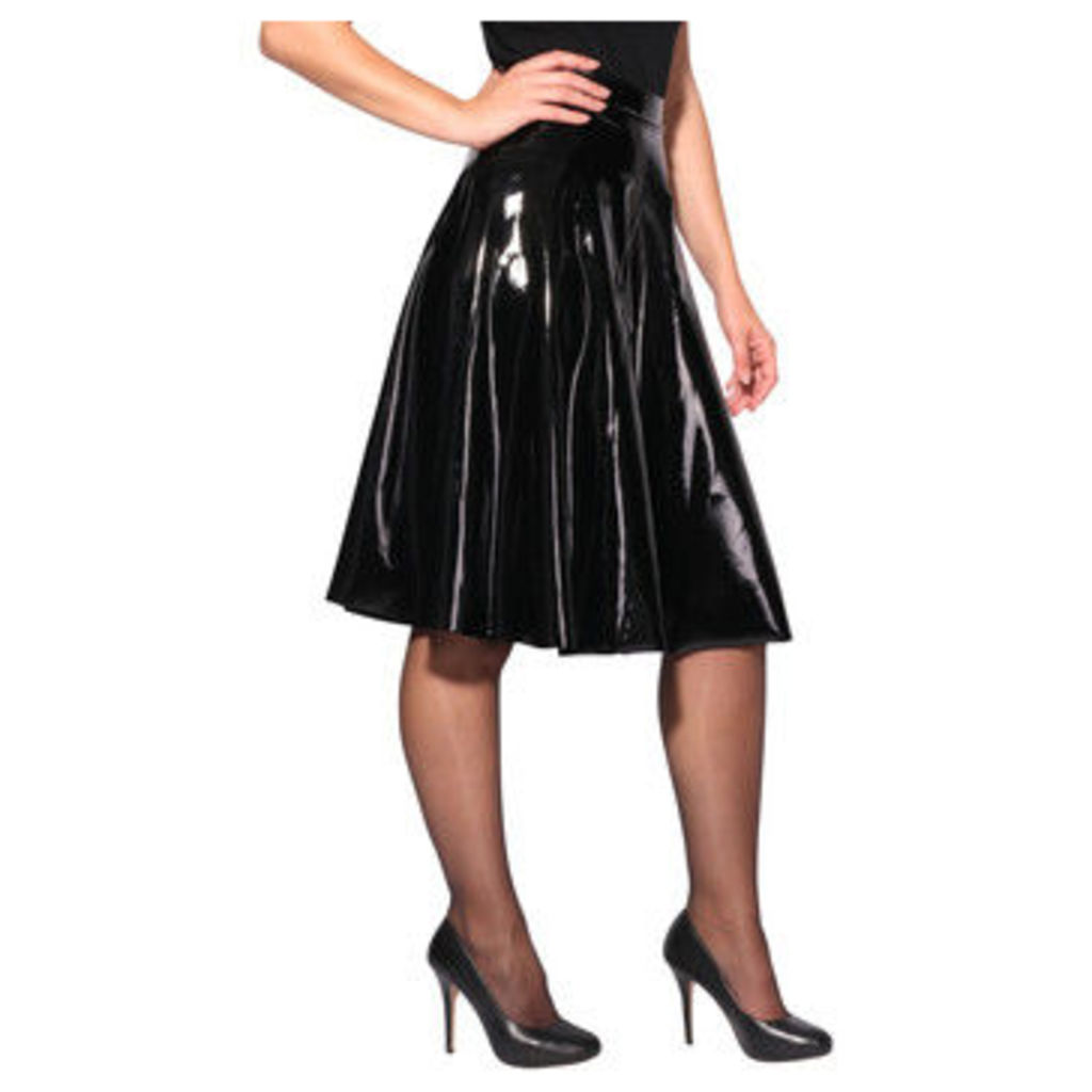 Krisp  PVC High Waisted Full Midi Skirt [Shiny ]  women's Skirt in Black