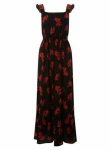 Womens Black Floral Print Maxi Dress- Black, Black