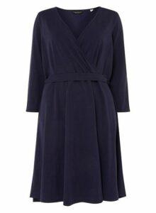 Womens **Dp Curve Navy 3/4 Sleeve Wrap Dress- Blue, Blue