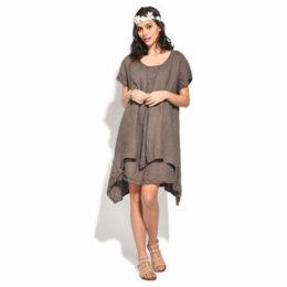 100 % Lin  Dress  women's Dress in Beige