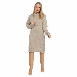 Arty Blush  Hooded mohair sweater dress  women's Dress in Beige