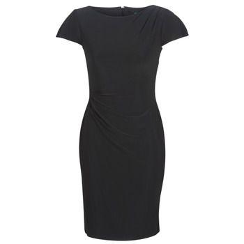 Lauren Ralph Lauren  SHORT SLEEVE JERSEY DAY DRESS  women's Dress in Black