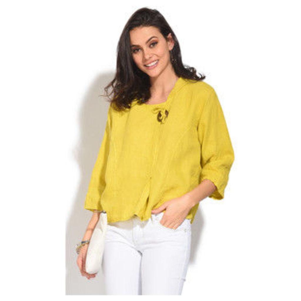 100 % Lin  Top  women's Blouse in Yellow