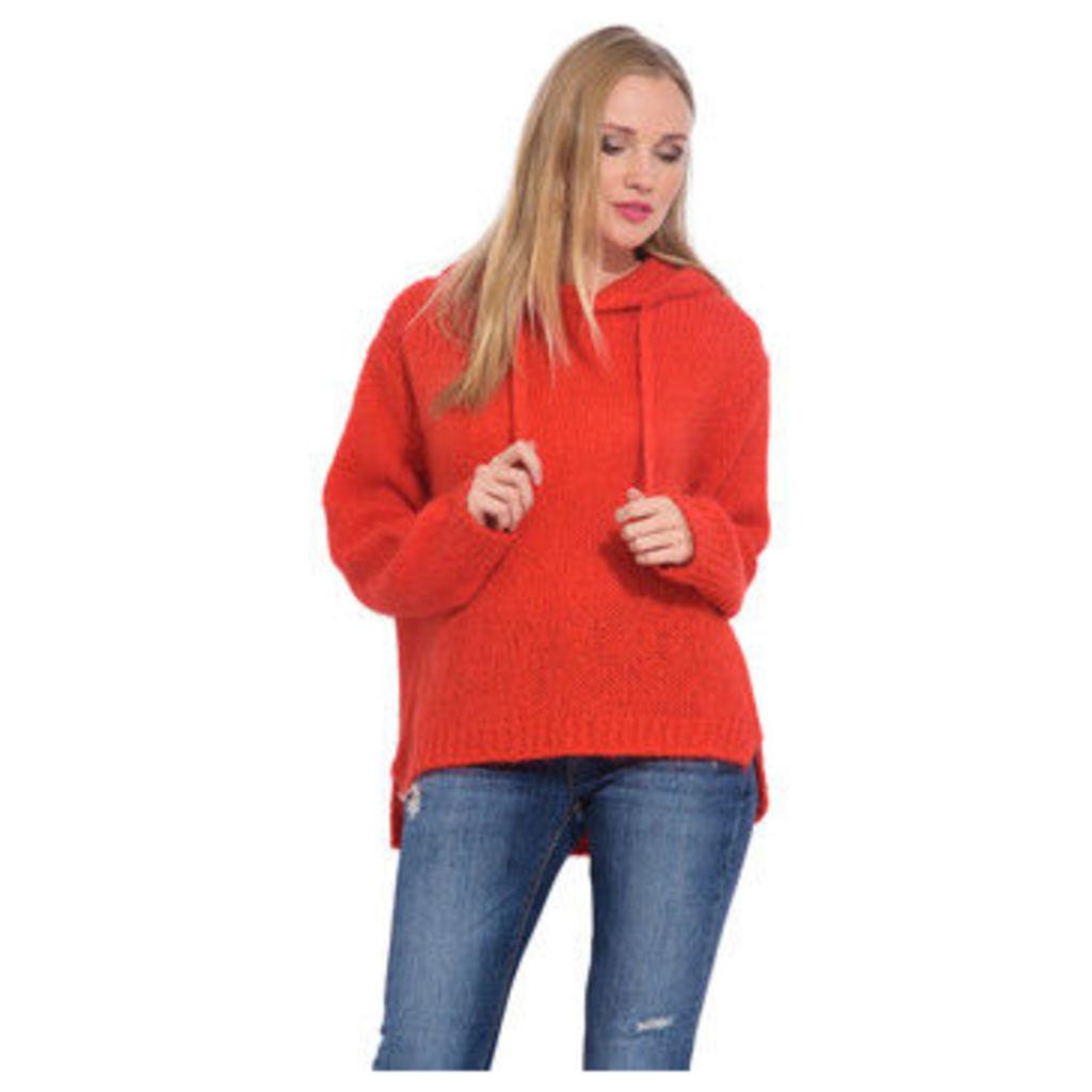 Arty Blush  Mohair hoodie  women's Sweatshirt in Red