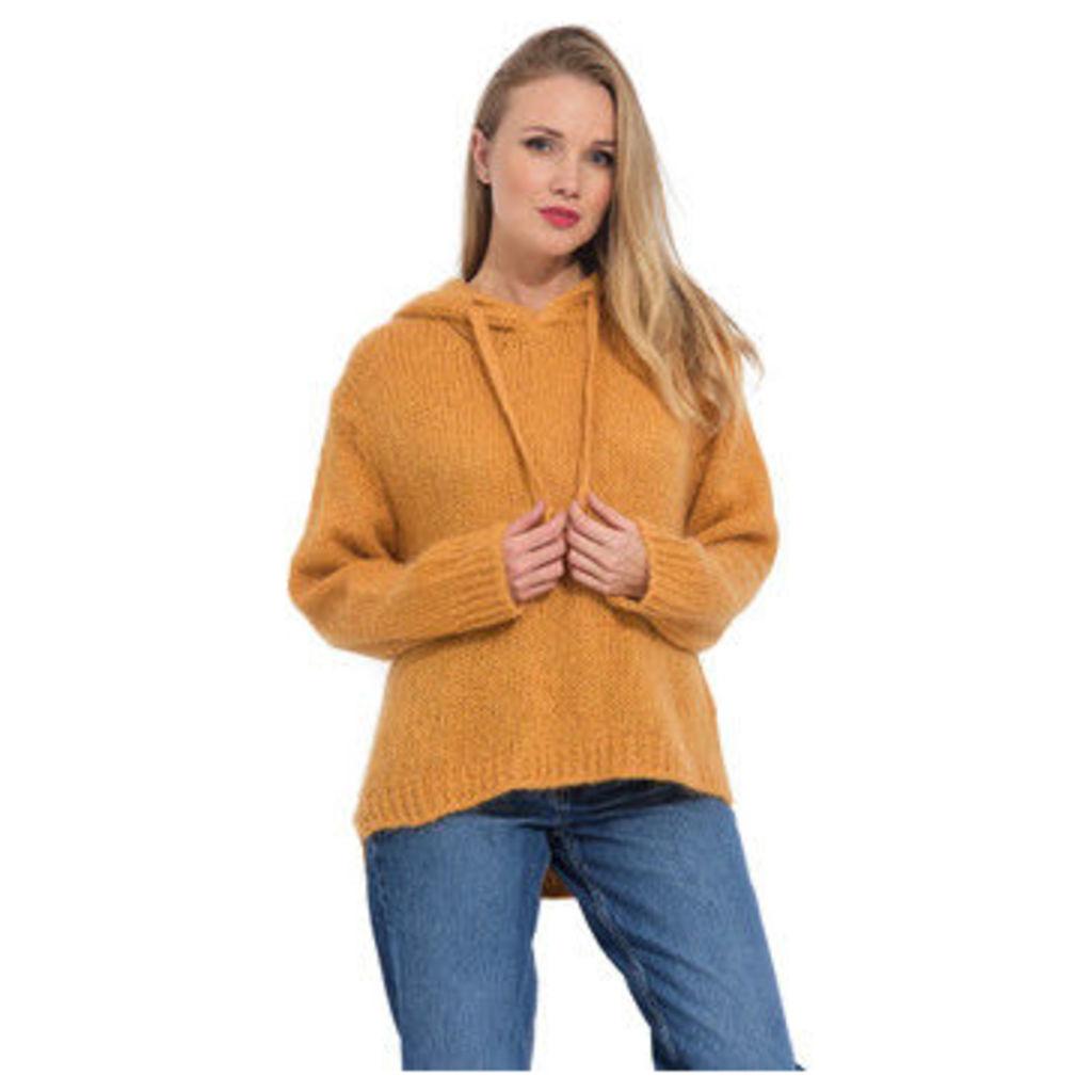 Arty Blush  Mohair hoodie  women's Sweatshirt in Yellow