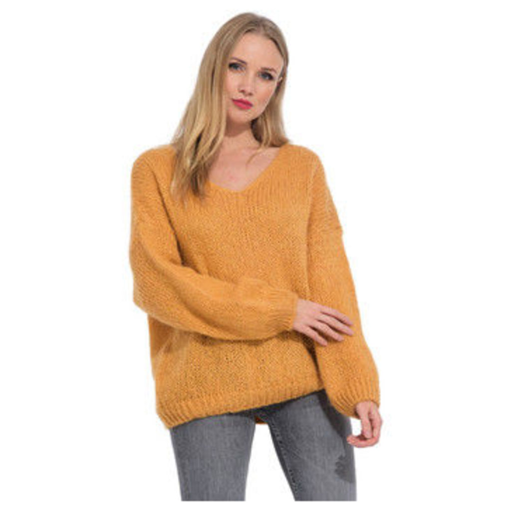 Arty Blush  V neck mohair sweater  women's Sweater in Yellow