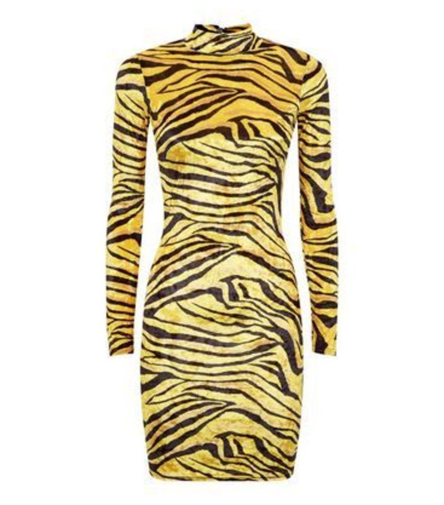 Carpe Diem Yellow Tiger Print Bodycon Dress New Look