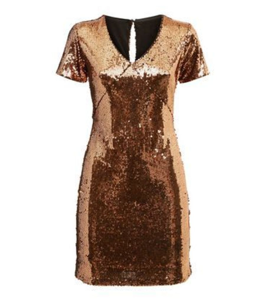Blue Vanilla Bronze Sequin Mini Dress New Look