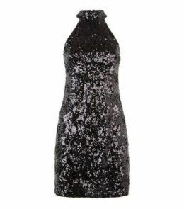 Pink Vanilla Black Sequin High Neck Dress New Look
