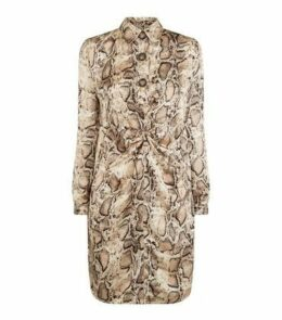 Blue Vanilla Brown Snake Print Satin Shirt Dress New Look