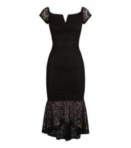 AX Paris Black Fishtail Bardot Midi Dress New Look