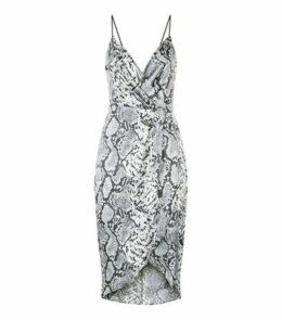 Blue Vanilla Light Grey Snake Print Dress New Look