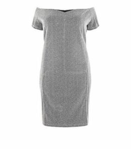 Blue Vanilla Curves Silver Glitter Bardot Dress New Look