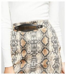 Pink Vanilla Brown Snake Print Gold Belt Skirt New Look