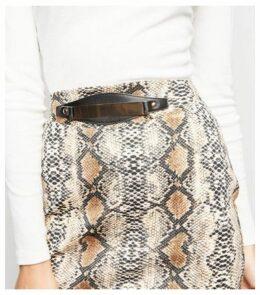 Pink Vanilla Brown Snake Print Gold Belt Skirt New Look