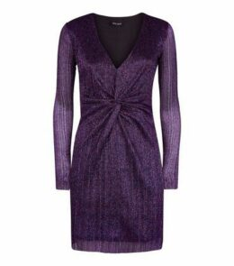 Purple Glitter Plissé Twist Front Mini Dress New Look