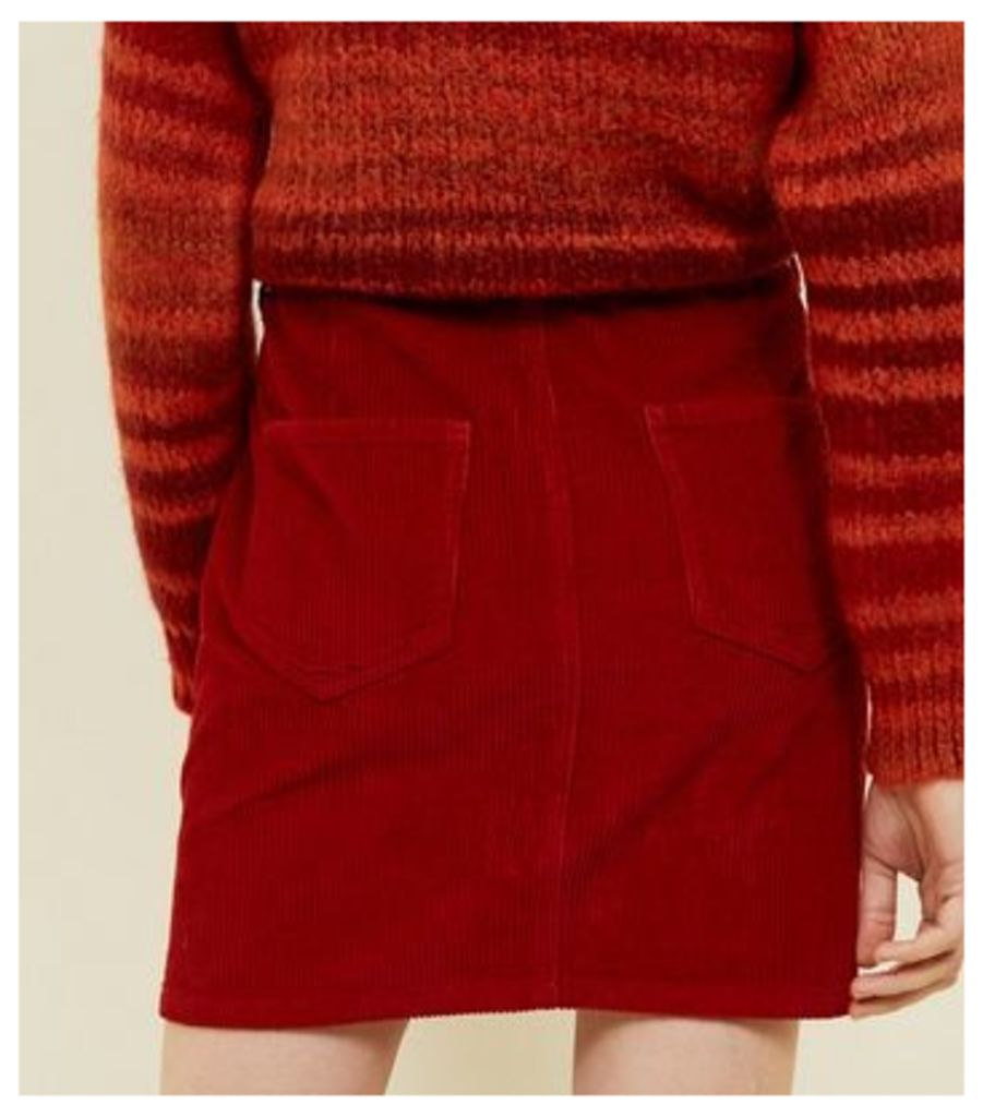 Red Corduroy Utility Pocket Skirt New Look