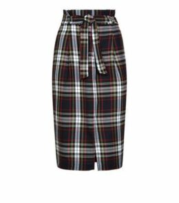 Navy Check Paperbag Midi Skirt New Look