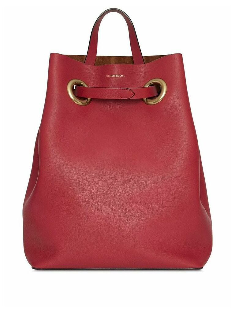 Burberry The Leather Grommet Detail Backpack - Red