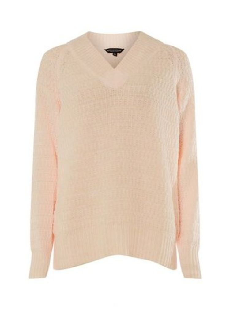 Womens Blush V-Neck Textured Jumper- Pink, Pink