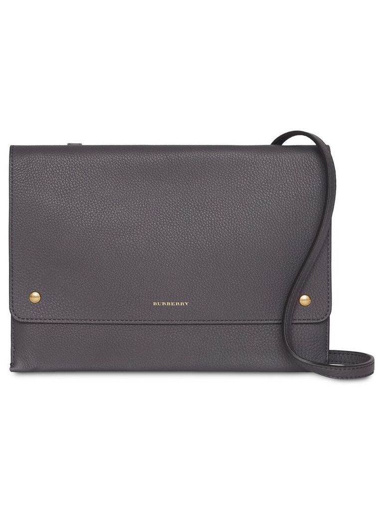 Burberry Leather Pouch with Detachable Strap - Grey