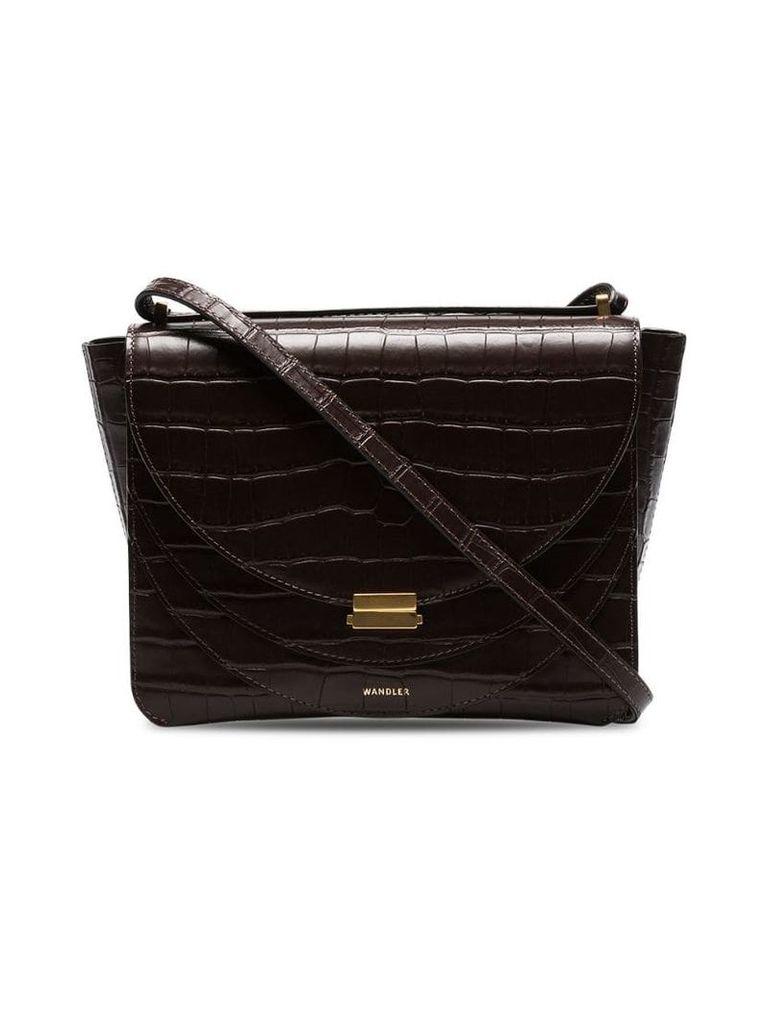Wandler brown luna mock croc leather shoulder bag