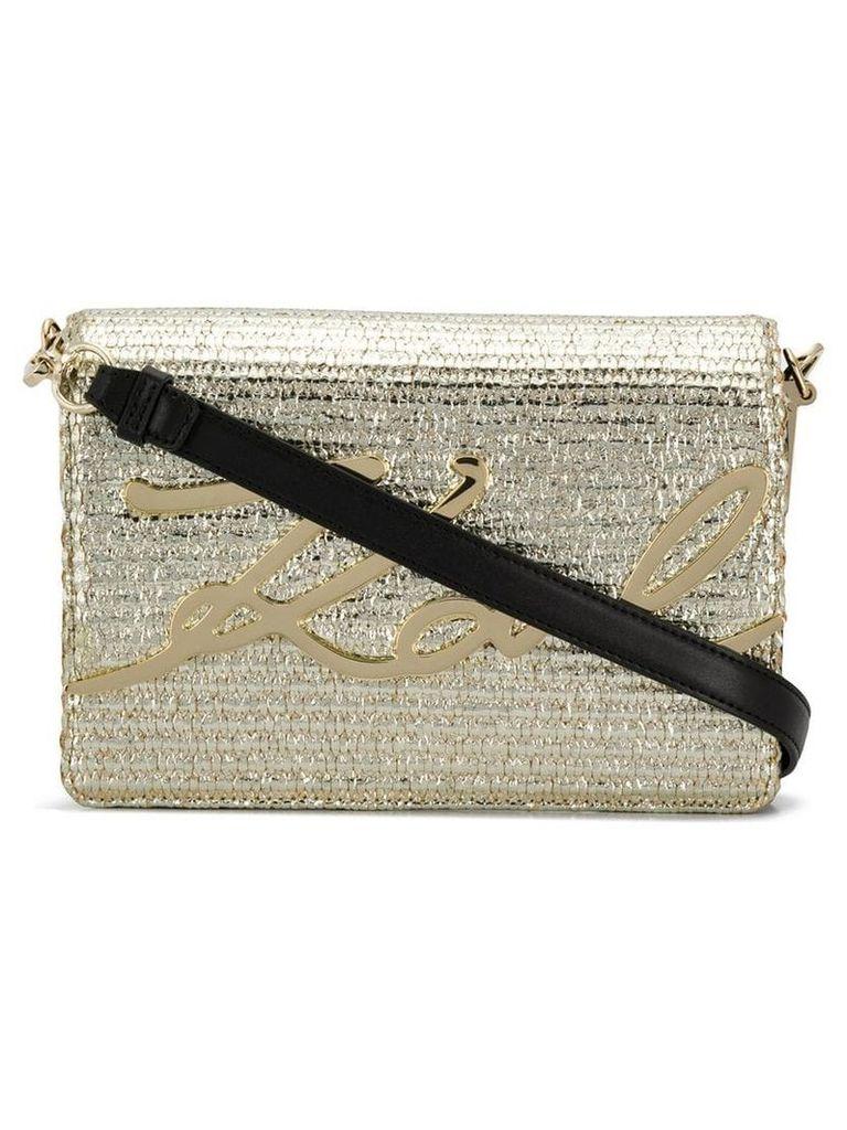 Karl Lagerfeld K/Signature Raffia shoulder bag - Gold