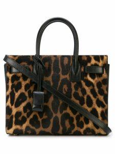 Saint Laurent leopard print tote bag - Brown