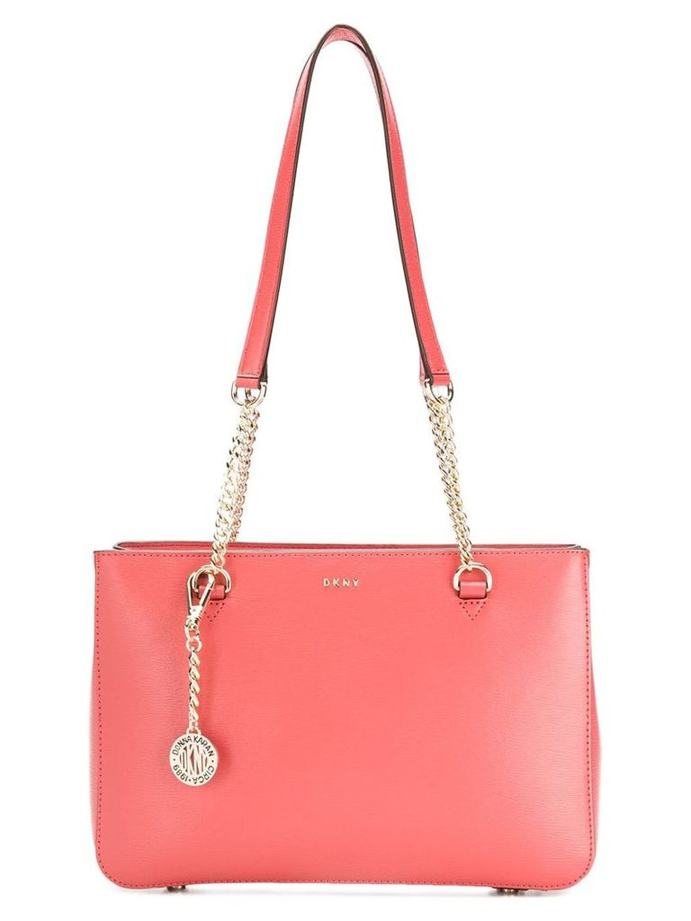 DKNY logo plaque tote bag - Red