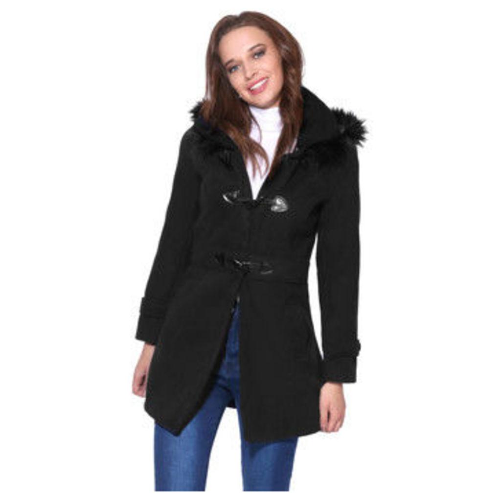 Krisp  Hooded Rockabilly Duffle Coat [Black]  women's Coat in Black