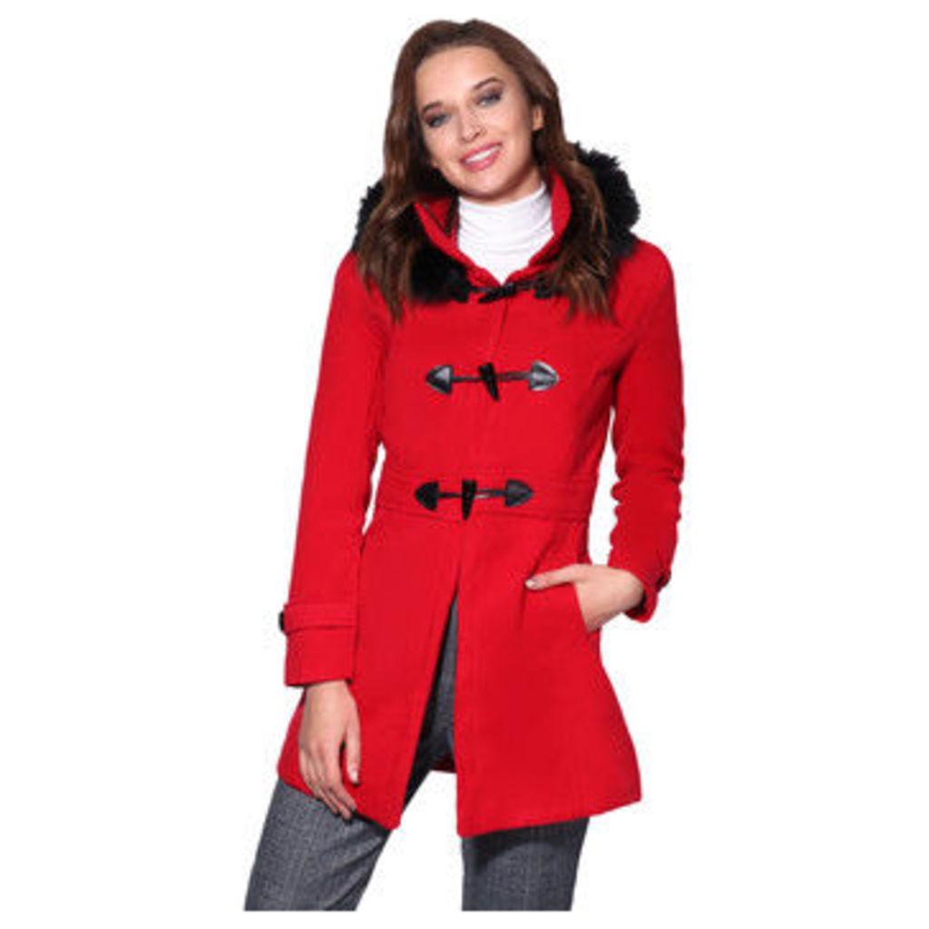 Krisp  Hooded Rockabilly Duffle Coat [Red]  women's Coat in Red