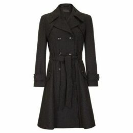 Anastasia  Women's Dark Grey Wool Winter Belted Trench Coat  women's Trench Coat in Grey