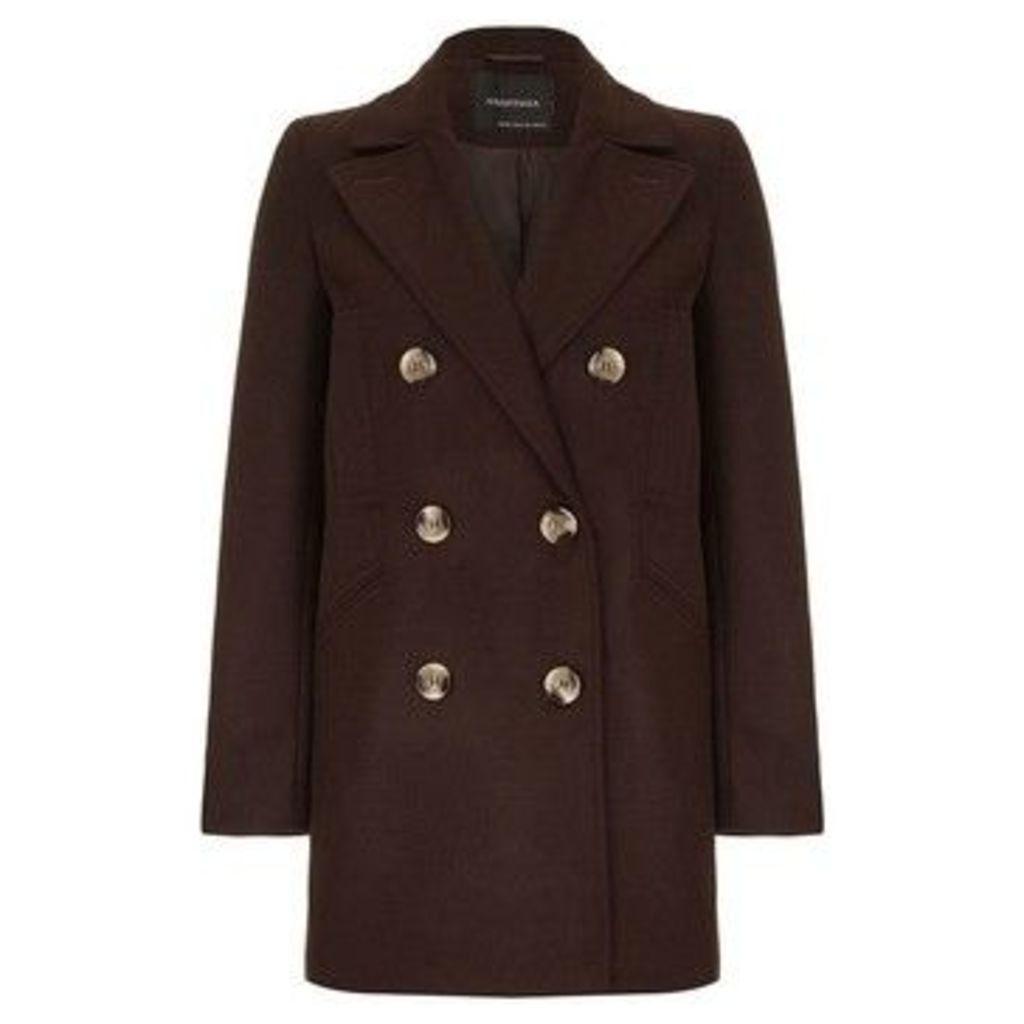 Anastasia  Women's Brown Wool Winter Pea Coat  women's Coat in Brown