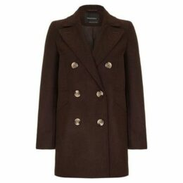 Anastasia  Women's Brown Wool Winter Pea Coat  women's Coat in Brown