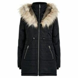 Anastasia  Hooded Faux Fur Trim Padded Parka  women's Coat in Black