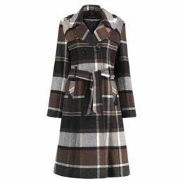 De La Creme  Check Tie Belt Winter Wool Coat  women's Coat in Brown