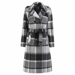 De La Creme  Check Tie Belt Winter Wool Coat  women's Coat in Black