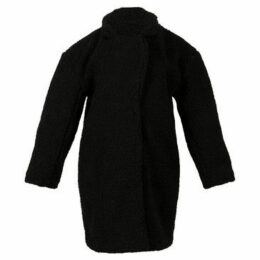 London Rag  Women's Black Oversized Faux Fur Flap Long Jacket  women's Coat in Black