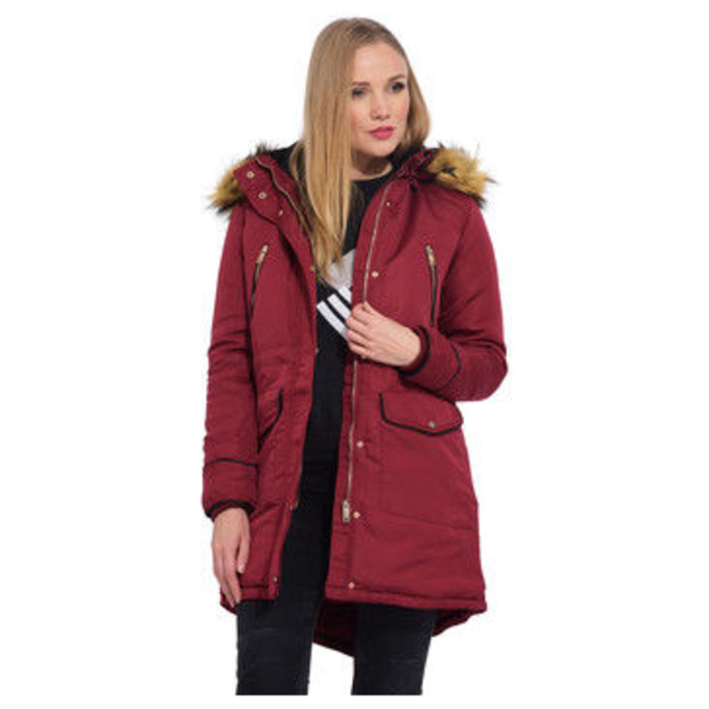 Cm  Mid-length parka with hood  women's Parka in Red