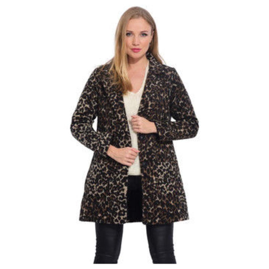 Arty Blush  Mid-length leopard print coat  women's Coat in Black