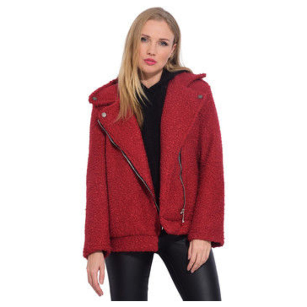 Arty Blush  Wool perfecto  women's Coat in Red