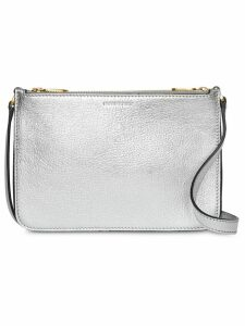 Burberry Triple Zip Metallic Leather Crossbody Bag - Silver