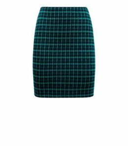 Teal Houndstooth Check Tube Skirt New Look