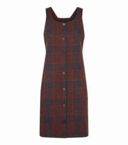 Black Houndstooth Button Front Pinafore Dress New Look