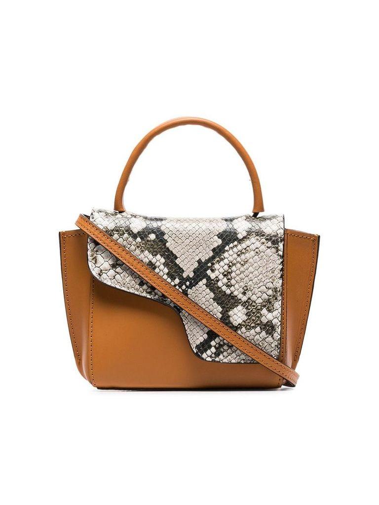Atp Atelier brown Montalcino snake embossed leather cross body bag