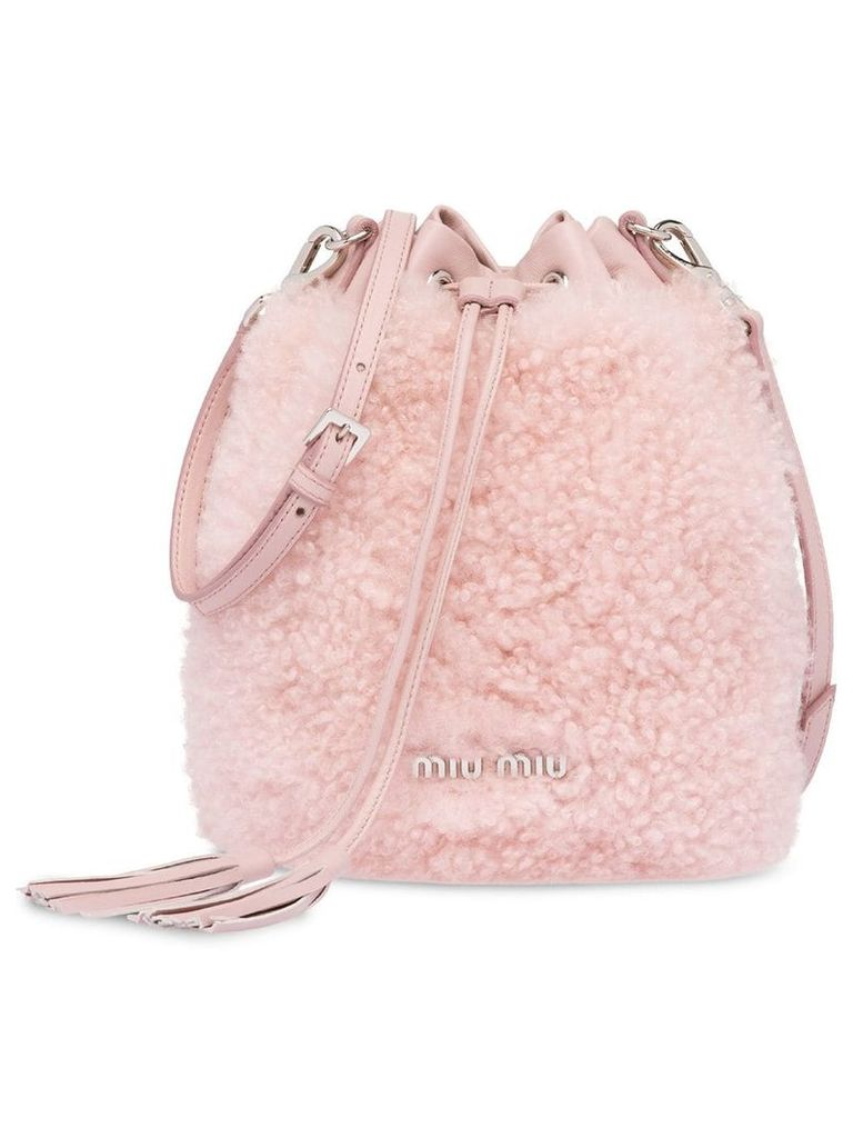 Miu Miu Shearling bucket bag - Pink