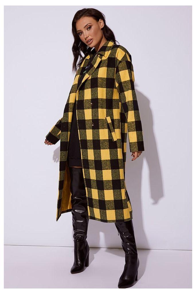 Yellow Coats - Cc Clarke Yellow Checked Oversized Coat