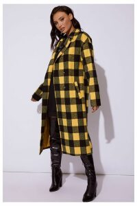 Yellow Coats - Cc Clarke Yellow Checked Oversized Coat