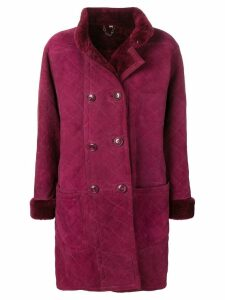 YVES SAINT LAURENT PRE-OWNED 1980's Fourrure coat - Purple